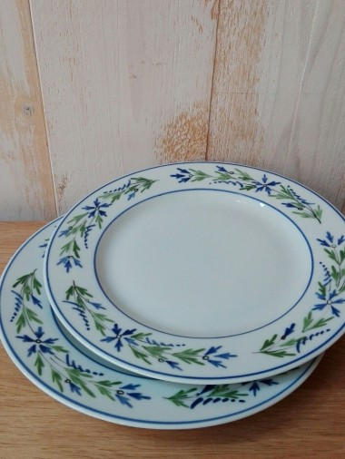 2 Assiettes plates, décor Barbeau