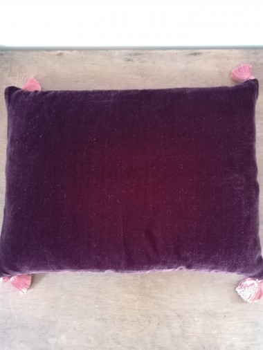 Coussin en velours de soie burgundy